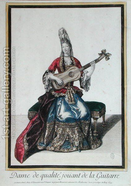 Lady Playing the Guitar, 1694 by Antoine Trouvain - Reproduction Oil Painting