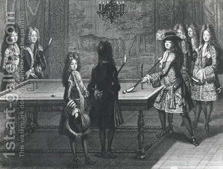 Louis XIV 1638-1715 playing billiards with Philippe I (1640-1701) Duke of Orleans, the Count of Toulouse, the Duke of Vendome, Monsieur dArmagnac and Monsieur de Chamillard, 1694 by Antoine Trouvain - Reproduction Oil Painting
