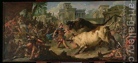 Jason Taming the Bulls of Aeetes, 1742 by Jean François de Troy - Reproduction Oil Painting