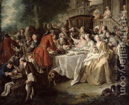 The Hunt Lunch, detail of the diners, 1737 by Jean François de Troy - Reproduction Oil Painting