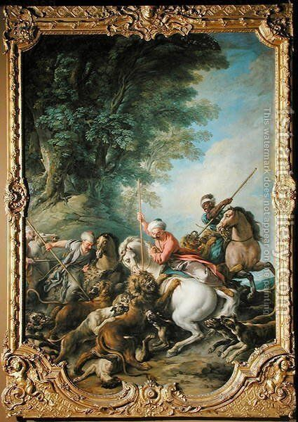 Turks Hunting Lions by Jean François de Troy - Reproduction Oil Painting