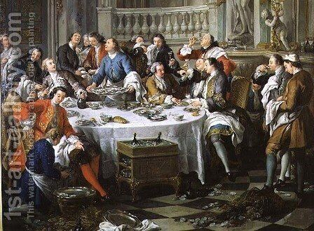 The Oyster Lunch, 1734 by Jean François de Troy - Reproduction Oil Painting