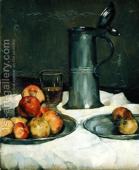 Still life with apples and pewter jug, 1878 by Heinrich Wilhelm Truebner - Reproduction Oil Painting