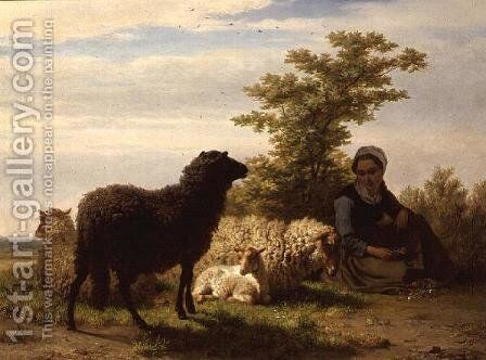The Shepherdess by Charles Philogene Tschaggeny - Reproduction Oil Painting