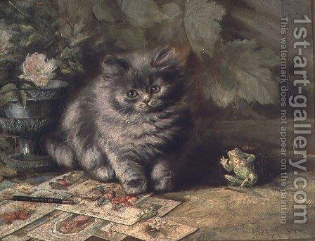 A Portrait of a kitten by Ada Eliza Tucker - Reproduction Oil Painting