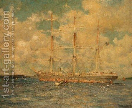 A French Barque in Falmouth Bay, 1902 by Henry Scott Tuke - Reproduction Oil Painting