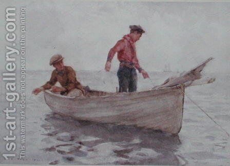 Boys fishing off Newlyn, 1920 by Henry Scott Tuke - Reproduction Oil Painting