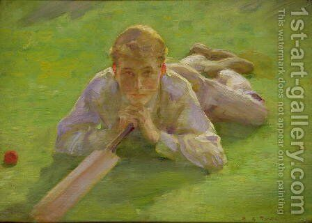 Henry Allen in Cricketing Whites by Henry Scott Tuke - Reproduction Oil Painting