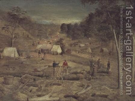 Mining camp at Bathurst, c.1851 by E. Tulloch - Reproduction Oil Painting
