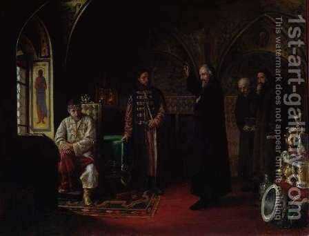 Metropolitan Philip of Moscow 1507-90 with Tsar Ivan the Terrible 1530-84 by Jakov Prokopyevich Turlygin - Reproduction Oil Painting