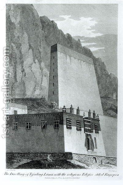 The Dwelling of Tefsaling Lama with the Religious Edifice Stiled Kugopea, from Account of an Embassy to the Court of the Teshoo Lama in Tibet by Captain Turner, published 1800 by (after) Turner, Captain Samuel - Reproduction Oil Painting