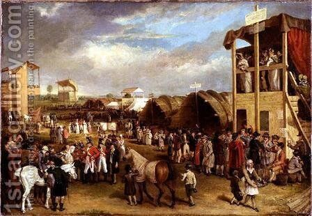 An Extensive View of the Oxford Races by Charles Turner - Reproduction Oil Painting