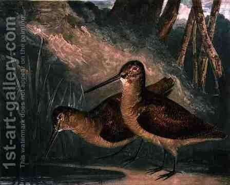 Woodcocks, plate 4 of British Feather Game, engraved by the artist, pub. by R. Ackermann, c.1810 by Charles Turner - Reproduction Oil Painting