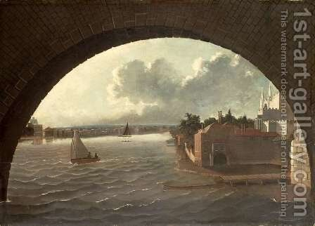 The Thames at Westminster seen through the arch of a bridge by Daniel Turner - Reproduction Oil Painting