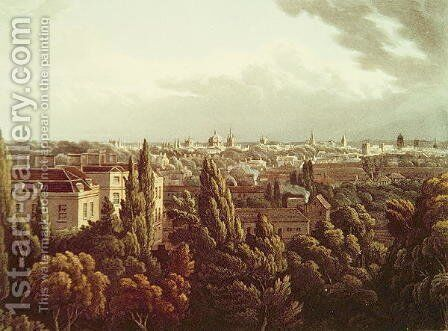 View of Oxford from the Gallery in the Observatory, engraved by J. Bluck, 1st July 1814 by (after) Turner, William - Reproduction Oil Painting