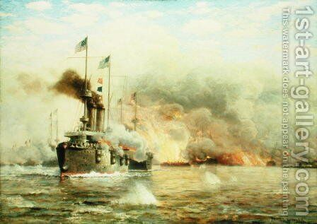 Battleships at War Explosion by James Gale Tyler - Reproduction Oil Painting
