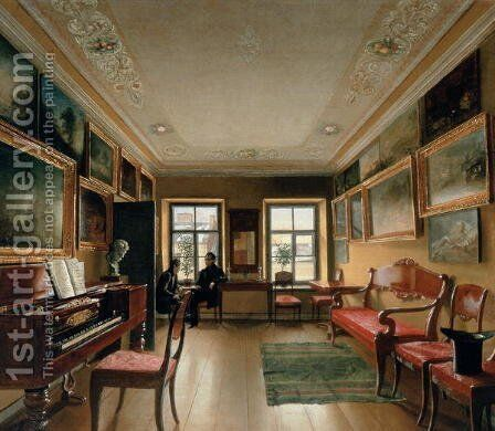 Interior of a Manor House, 1830s by Alexei Vasilievich Tyranov - Reproduction Oil Painting
