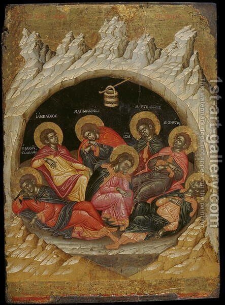 The Seven Sleepers of the Ephesos by Emmanuel Tzanes - Reproduction Oil Painting