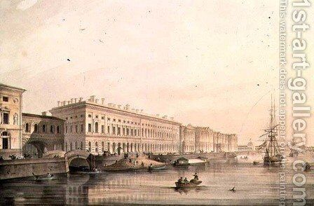 View of Palace Embankment, engraved by Karl Petrovich Beggrov 1799-1875, 1826 by (after) Sabat, K. and Shiflard, S. - Reproduction Oil Painting