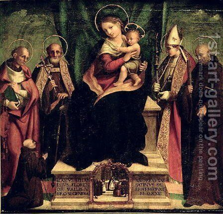 The Virgin and Child enthroned with Saints by Andrea Sabatini - Reproduction Oil Painting