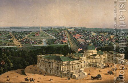 View of Washington, pub. by E. Sachse & Co., 1852 by Edward Sachse - Reproduction Oil Painting