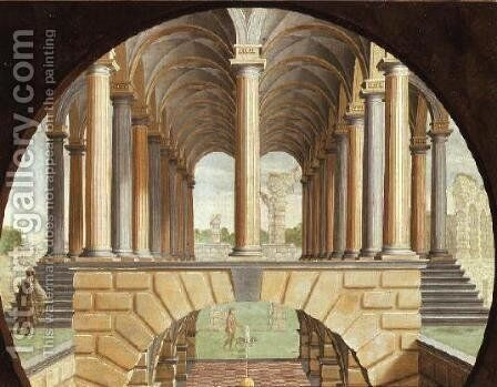 Architectural Capriccio by Jacobus Saeys - Reproduction Oil Painting
