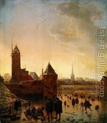 Ice Skating in front of the Utrecht City Walls, 1646 by Herman Saftleven - Reproduction Oil Painting