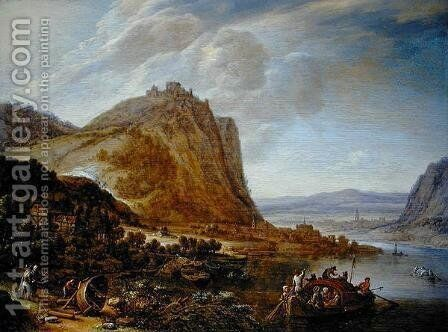 Mountainous Rhineland landscape, 1660 by Herman Saftleven - Reproduction Oil Painting