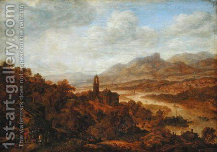 Landscape with the River Rhine, 1652 by Herman Saftleven - Reproduction Oil Painting