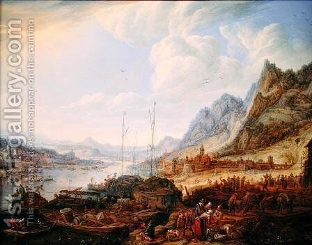 A Rhenish Landscape with Fishermen and Peasants at a Quayside by Herman Saftleven - Reproduction Oil Painting