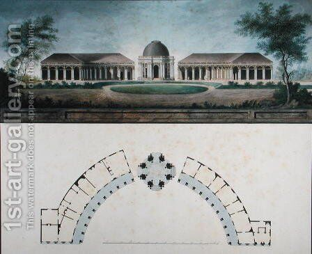 The Temple of the Sun at the Bayreuth Hermitage c.1780 by J. Saher - Reproduction Oil Painting