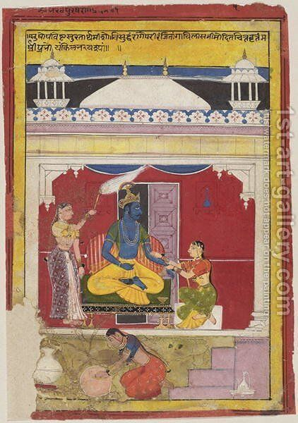 Bhairava Raga, from Mewar, Rajasthan, 1628 by (attr. to) Sahibdin - Reproduction Oil Painting