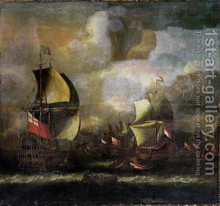 A Battle between English and Dutch fleets by Isaac Sailmaker - Reproduction Oil Painting