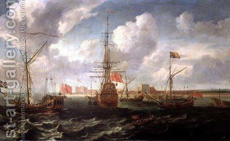 The Royal Yacht off Sheerness, c.1680 by Isaac Sailmaker - Reproduction Oil Painting