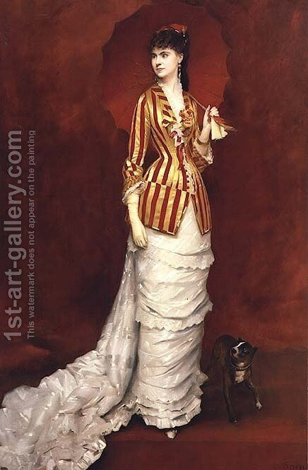 Portrait of a lady in a striped jacket with a parasol by Edouard Alexandre Sain - Reproduction Oil Painting