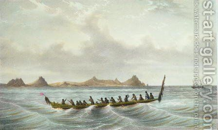 View of Cape Wangari, New Zealand, plate 49 from 'Voyage de la corvette lAstrolabe. Atlas historique, engraved by Felix Achille Saint-Aulaire and Victor Adam, pub. 1833 by (after) Sainson, Louis Auguste de - Reproduction Oil Painting