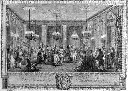 The Evening Dress Ball at the House of Monsieur de Villemorien Fila, engraved by L. Provost by Augustin de Saint-Aubin - Reproduction Oil Painting