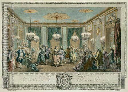 The Evening Dress Ball at the House of Monsieur Villemorien Fila, engraved by L. Provost by Augustin de Saint-Aubin - Reproduction Oil Painting