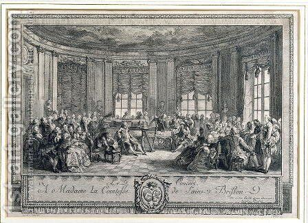 The Concert at the house of the Countess of Saint Brisson, engraved by L. Provost by Augustin de Saint-Aubin - Reproduction Oil Painting