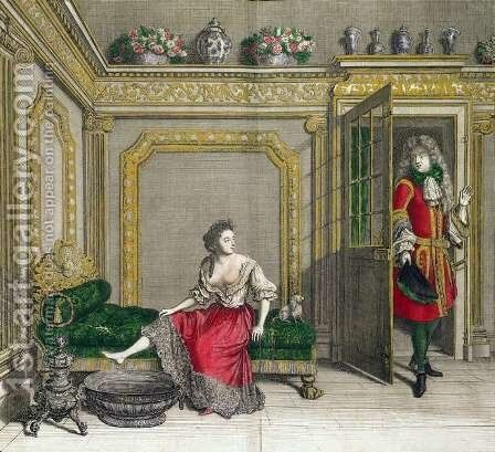 Lady undressing for the bath, published c.1688-90 by Jean Dieu de Saint-Jean - Reproduction Oil Painting