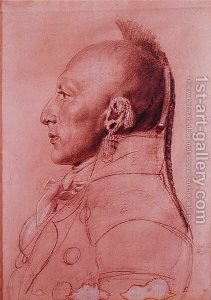 Portrait of a Chief of the Little Osages, c.1807 by Charles Balthazar J. F. Saint-Memin - Reproduction Oil Painting