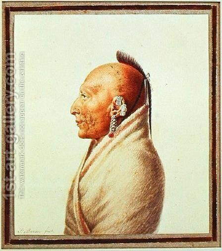 Indian Chief of the Little Osages, c.1807 by Charles Balthazar J. F. Saint-Memin - Reproduction Oil Painting