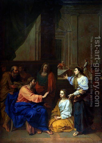 Christ with Martha and Mary by Claude II Saint-Paul - Reproduction Oil Painting