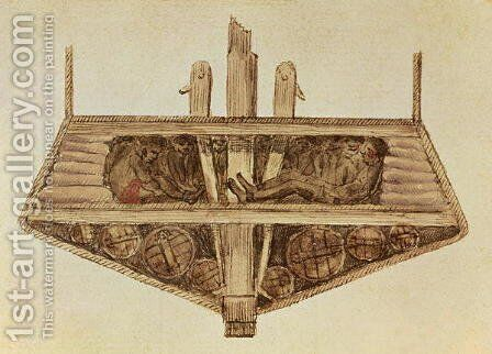 Cross-section of a slave ship, from a manuscript on slavery by the artist, late 18th century by Jacques-Henri Bernardin de Saint-Pierre - Reproduction Oil Painting
