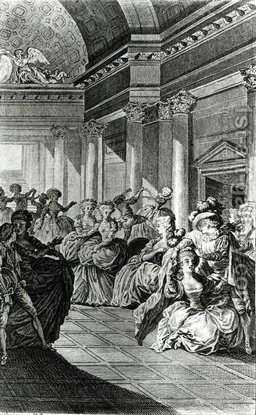He will return you pure and chaste to your husband, scene from Act IV of The Marriage of Figaro by Pierre-Augustin Caron de Beaumarchais 1732-99 engraved by Claude Nicolas Malapeau 1755-1803 1785 by Jacques-Philip-Joseph de Saint-Quentin - Reproduction Oil Painting