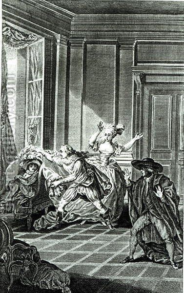 Scene from Act I of The Marriage of Figaro by Pierre-Augustin Caron de Beaumarchais 1732-99 engraved by Claude Nicolas Malapeau 1755-1803 1785 by Jacques-Philip-Joseph de Saint-Quentin - Reproduction Oil Painting