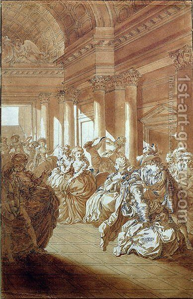 He will return you pure and chaste to your husband, scene from Act IV of The Marriage of Figaro by Pierre-Augustin Caron de Beaumarchais 1732-99 1785 by Jacques-Philip-Joseph de Saint-Quentin - Reproduction Oil Painting