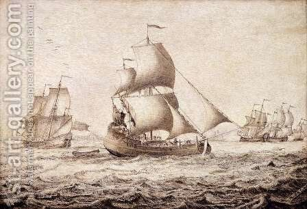 Shipping in an Estuary by Adriaen or Abraham Salm - Reproduction Oil Painting