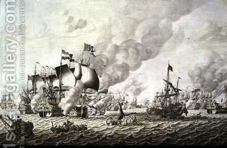 The Battle of La Hogue Barfleur, 19-24 May 1692 by Adriaen or Abraham Salm - Reproduction Oil Painting