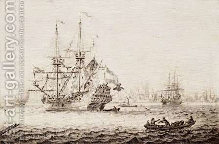 A Frigate at Anchor by Adriaen or Abraham Salm - Reproduction Oil Painting